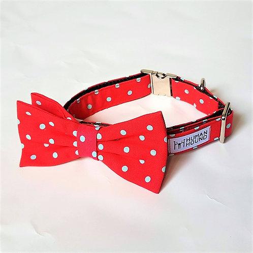 Pink Polka Dot Bow Tie & Collar Set