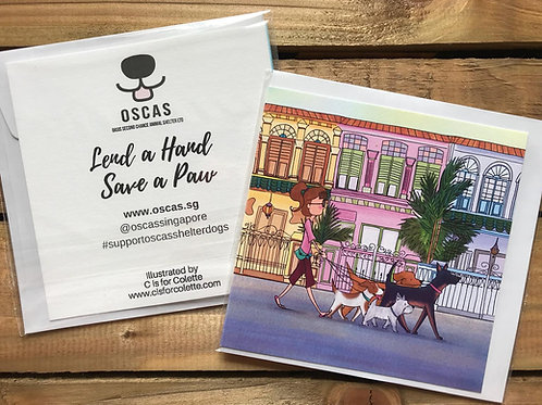Pack Walk through the Shophouses Greeting Card