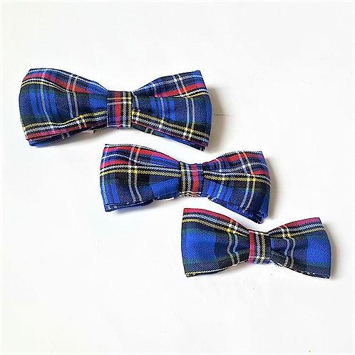 Navy Plaid Bow Tie