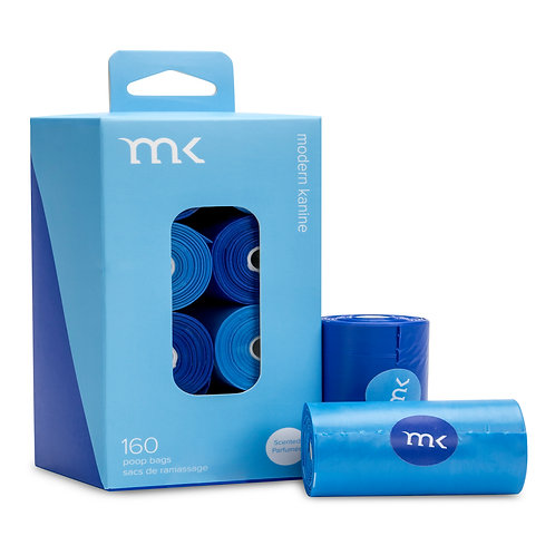 160 - MODERN KANINE® Dog Waste Bags - 8 rolls - Blue & Light Blue