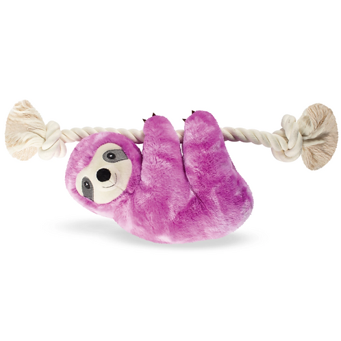 GLOWING GLENDA THE PURPLE SLOTH on a Rope Dog Squeaky Plush Toy