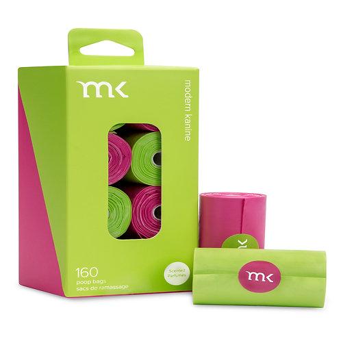 160 - MODERN KANINE® Dog Waste Bag - 8 rolls - Green & Pink