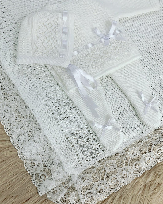 PURE WHITE KNITTED THREE PIECE SET- BAMBINO COLLECTION