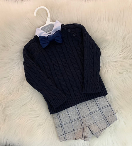 NAVY CABLE KNIT JUMPER