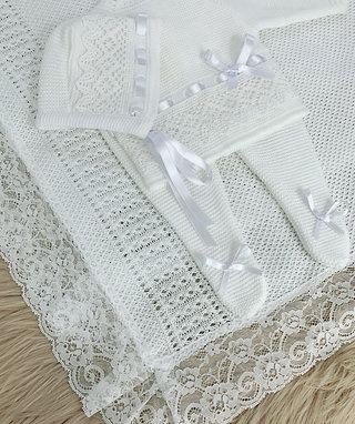 PURE WHITE LACE BLANKET-BAMBINO COLLECTION