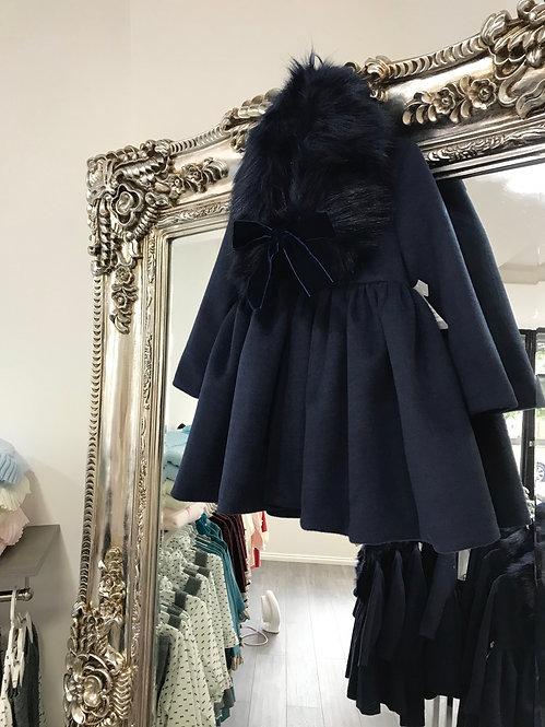 'Charlotte' Navy Coat with Detachable Fur Collar