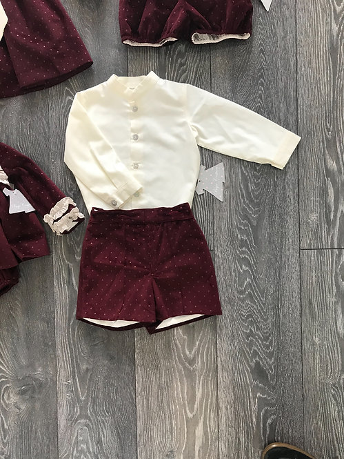 Cream Shirt and Burgandy Velvet Shorts