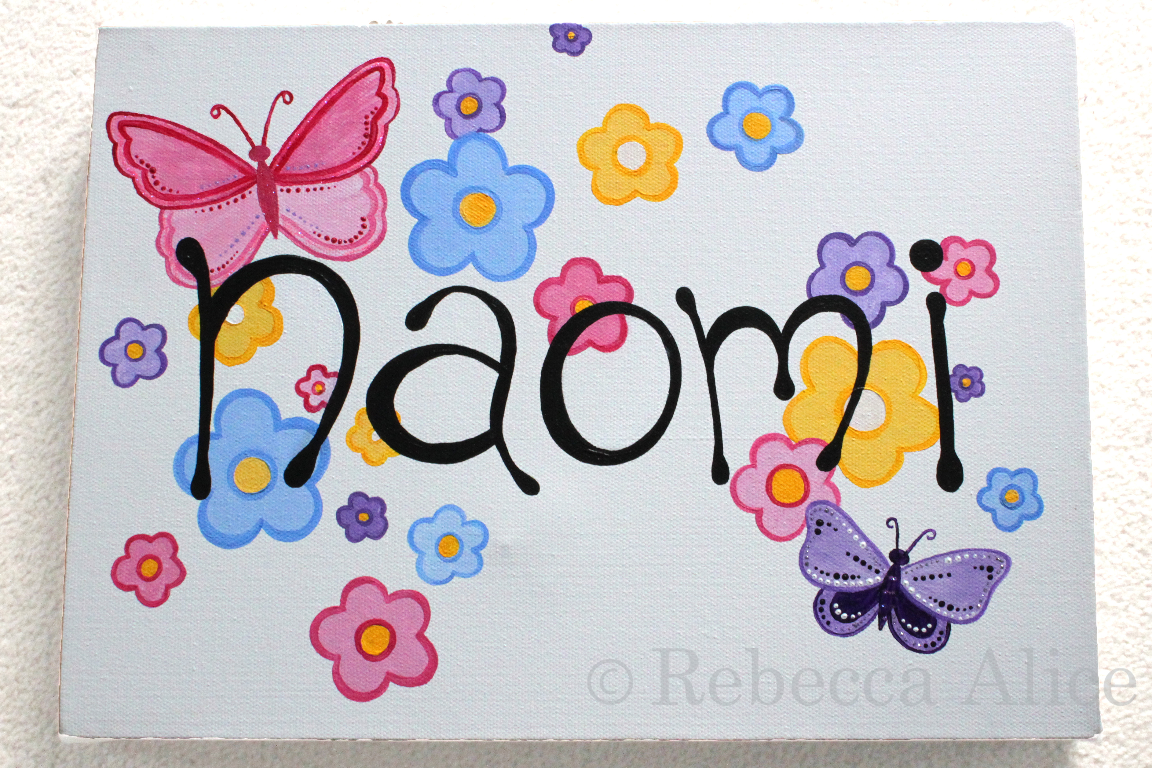 'Naomi' Flowers and Butterfly Canvas