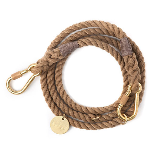 Found My Animal -DARK TAN ROPE DOG LEASH, ADJUSTABLE