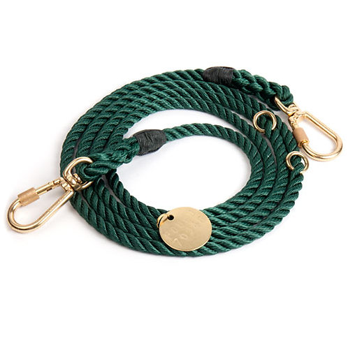 Found My Animal -HUNTER GREEN ROPE DOG LEASH, ADJUSTABLE