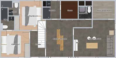 PLAN 1ER NIVEAU (Skiroom/Sauna/Salle je