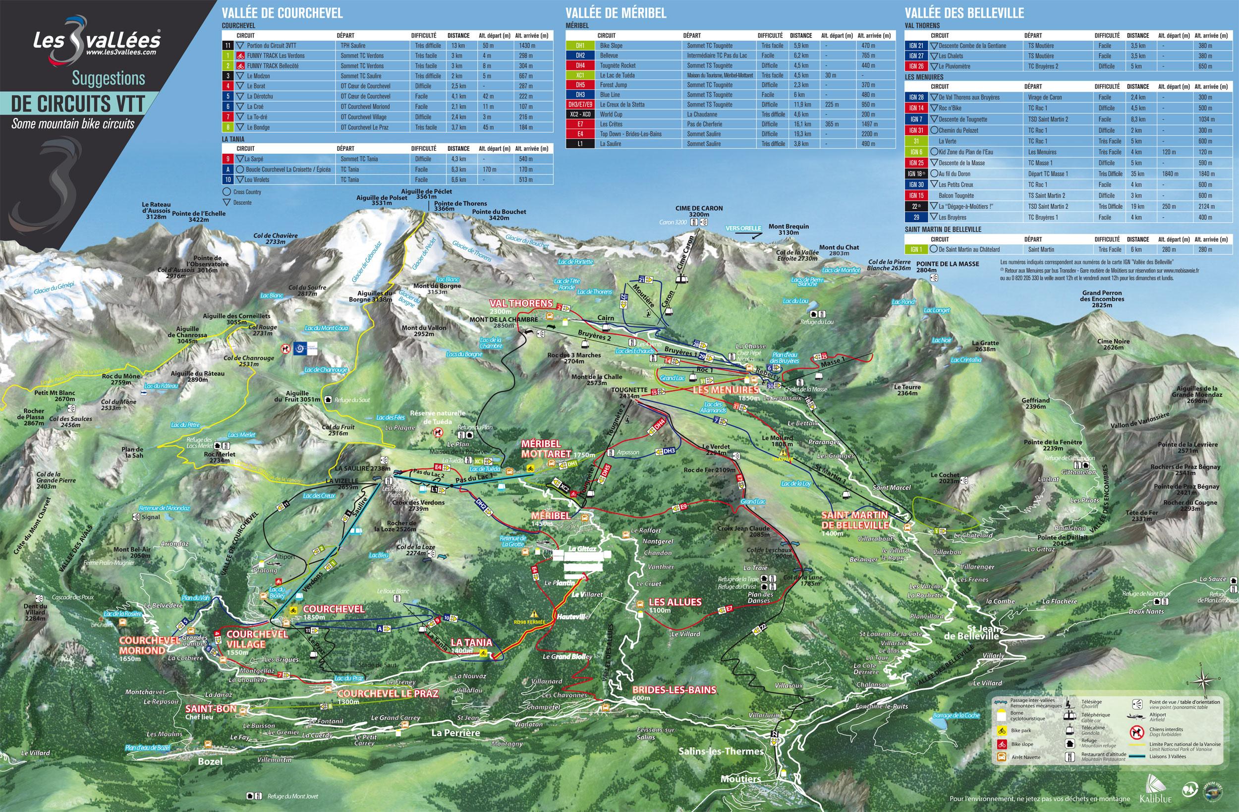 3 Vallées - Plan pistes VTT