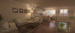 vizualizácia obývačky s kuchyňou