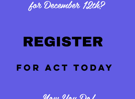 DECEMBER ACT REGISTRATION IS OPEN