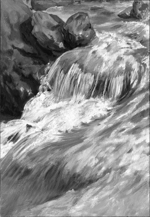 """Mountain river"", Langwies GR, plein air oil painting"