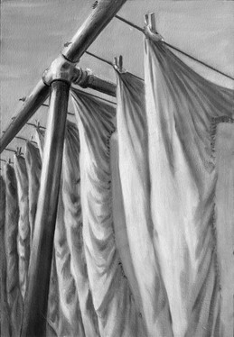 """""""Drying Sheets"""", Langwies GR, plein air oil painting"""