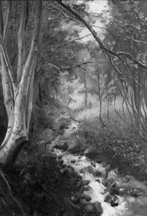 """""""Peaceful Stream"""", Langwies GR, plein air oil painting"""