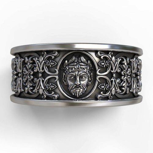 gothic band with mascaron zeus - Gothic Wedding Rings