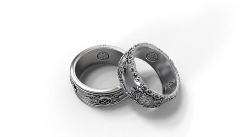 matching wedding bands his hers set with a vintage richly detailed design the inside of the bands is slightly domed and edges are smooth and rounded to - Gothic Wedding Ring