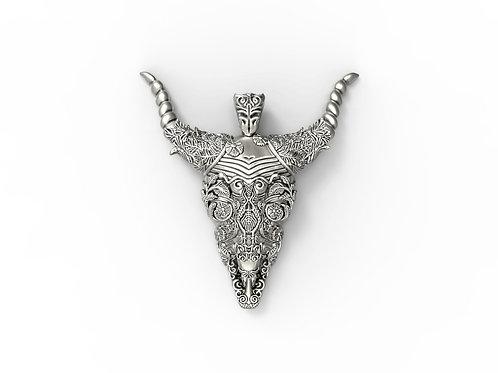 Bull skull pendant - solid sterling silver