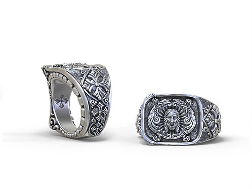 Richly detailed christian ring