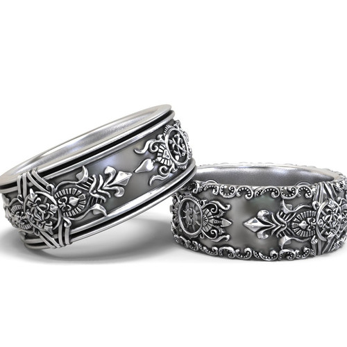 gothic wedding bands his and hers set - Gothic Wedding Rings