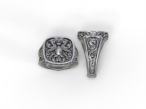 crest ring with heraldic dragons customizable