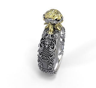 intricate baroque ring - silver & gold