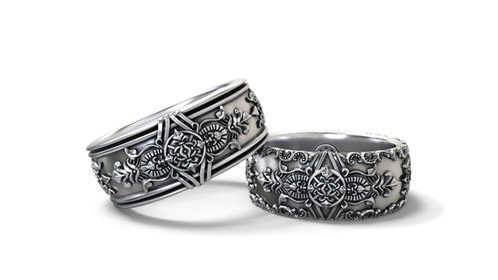 matching wedding bands his hers set with a vintage richly detailed design the inside of the bands is slightly domed and edges are smooth and rounded to - Goth Wedding Rings