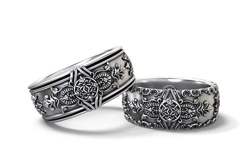Gothic Wedding Bands His and Hers Set