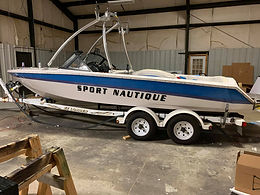 Sport Nautique Boat Before Custom Vinyl Partial Wrap and Decals Application