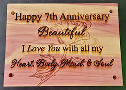 Engraved cedar plaque anniversary gift love