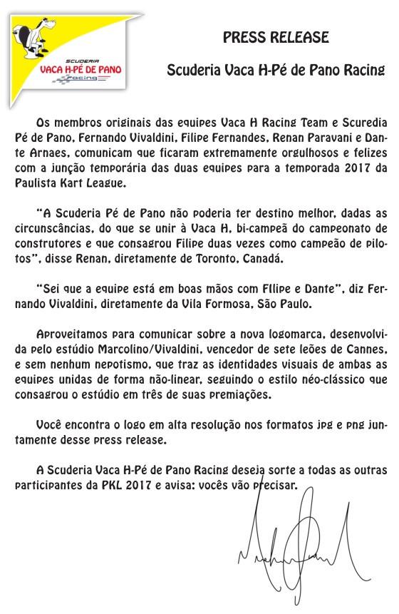 Press Release. Scuderia Vaca H Pé de Pano. PKL Paulista Kart League