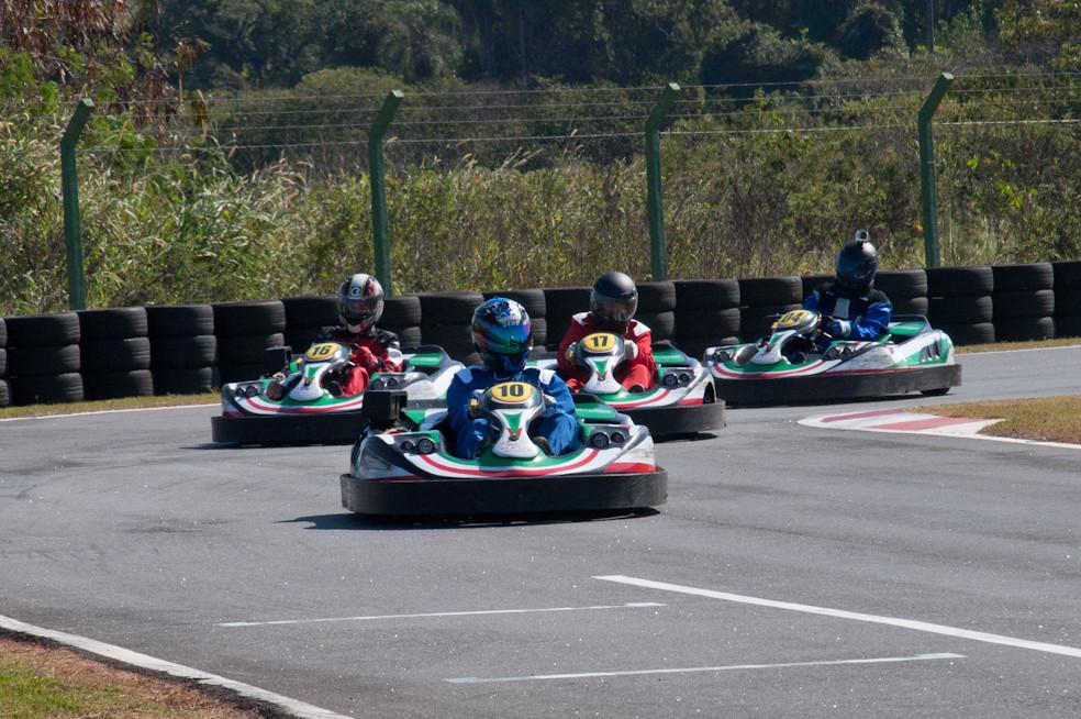 Ricardo Garcia (SPP), Daniel Mazotti (N2Y), Silvério Reis (HOT) e André Medeiros (RBR) em ação. PKL-E04 T-2016. Paulista Kart League PKL