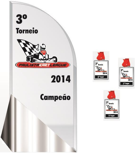 Design dos troféus e medalhas para a temporada 2014. PKL Paulista Kart League