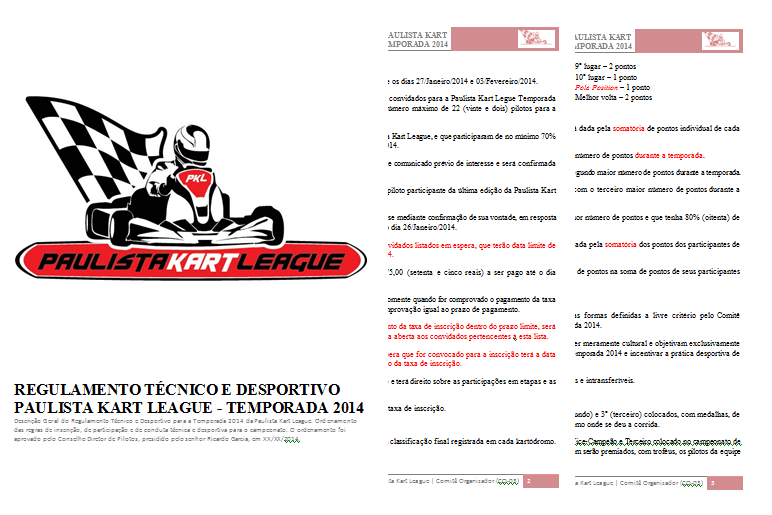 Print do documento a ser entregue. PKL Paulista Kart League