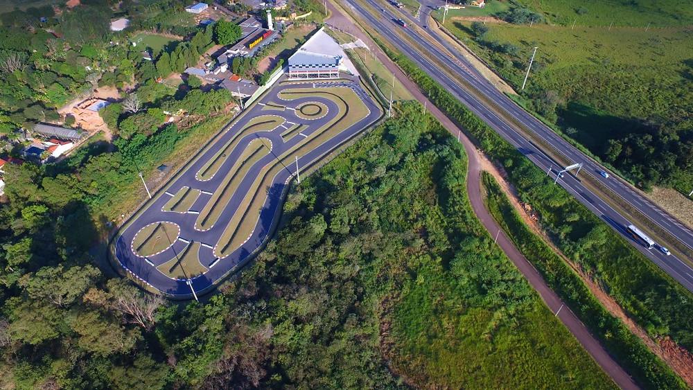 Vista aérea do Kartódromo Itália, na cidade de Valinhos, onde será realizada a quarta etapa do campeonato. PKL Paulista Kart League.