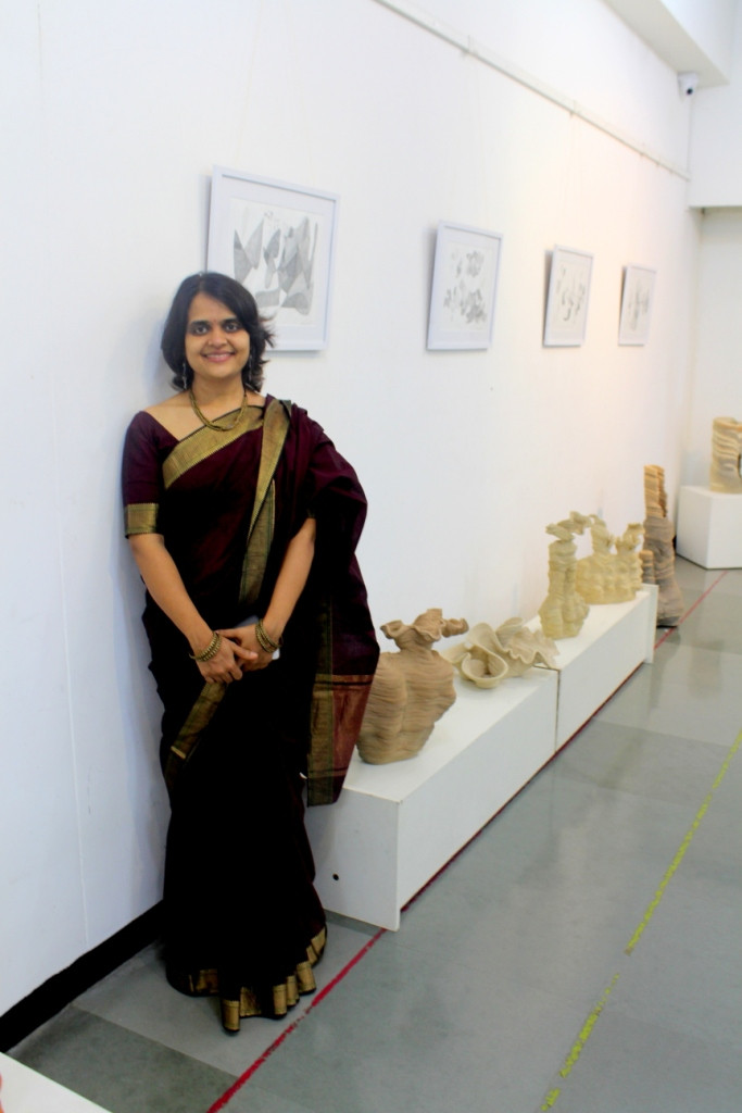 Madhavi at her exhibition Avirat in August 2018