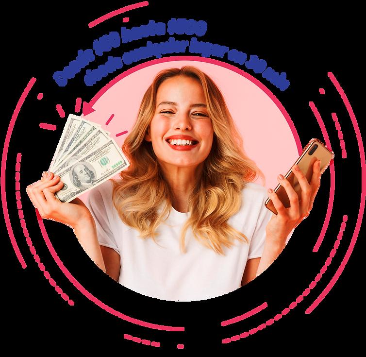 Chica con dinero y celular