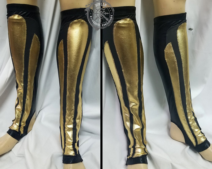 Premade Black and Gold Kickpad Covers for Pro Wrestling - one of a kind