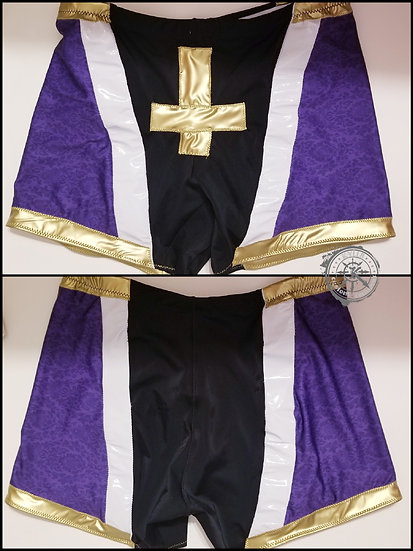 Premade Purple Trunks and Kneepad Covers for Wrestling - one of a kind- 34