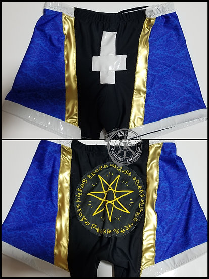 Premade Blue Trunks and Drama Kneepad Covers for Wrestling - one of a kind - 34