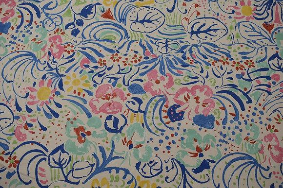 "Designer Fabric - ""Botanic Watercolor; 49.5"" w & 25"" VR"
