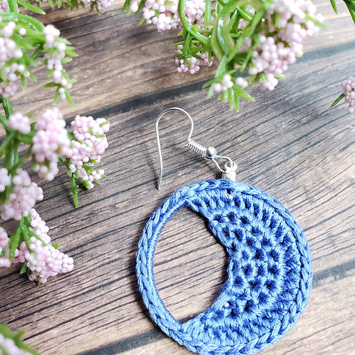 Crescent Moon Crochet Earrings