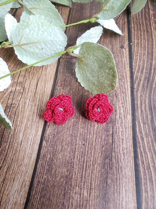 Clear Quartz Stud Rose Earrings