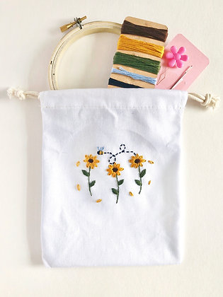 DIY embroidery kit - sunflower pouch