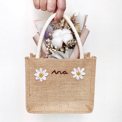 Embroidered Mini Jute Bag Set