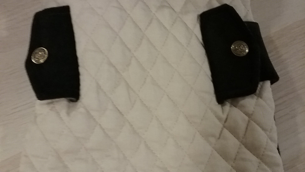 QUILTED AND BLACK W/TAN TRIM
