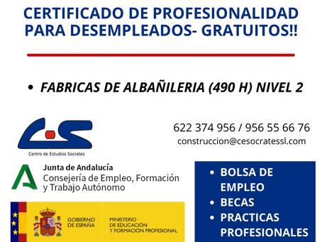 Certificado de profesionalidad EOCB108 Fabricas de albañilería.