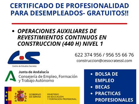 Certificado de profesionalidad EOCB0109 Operaciones auxiliares de revestimientos continuos en const.